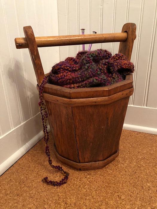 Bucket with yarn