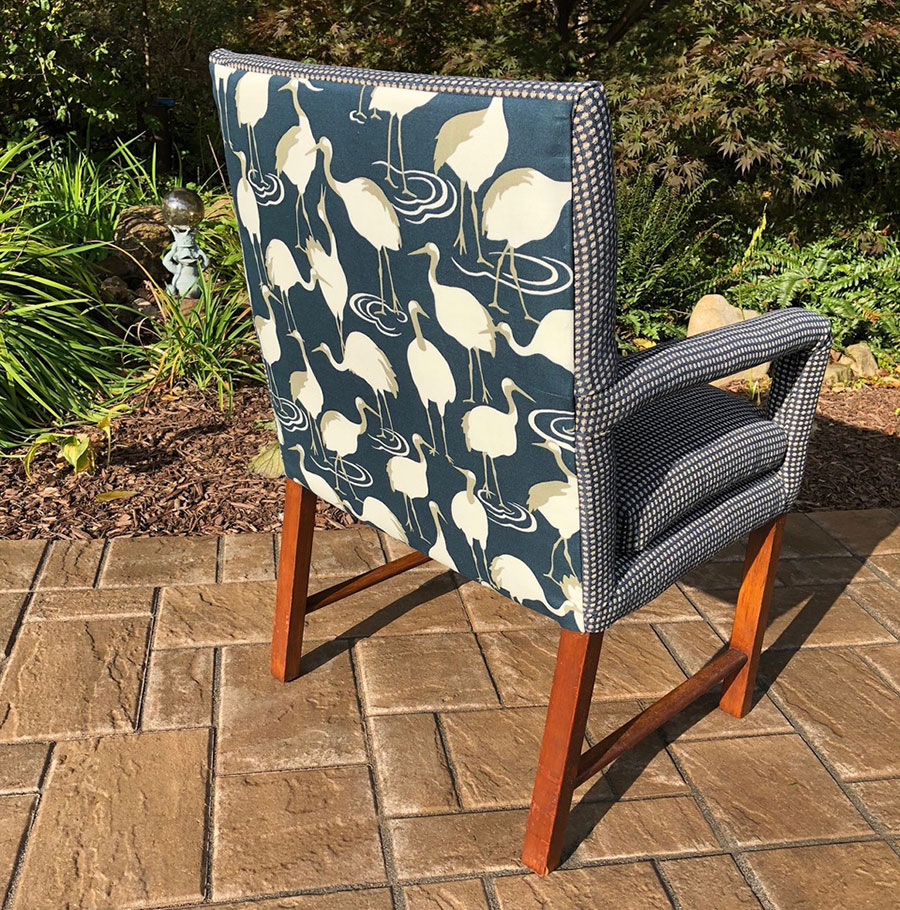Cushion dining chairs with weave and pelicans on back