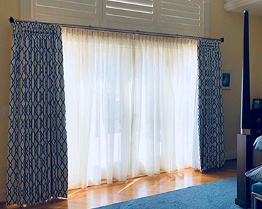 Blue bedroom drapes