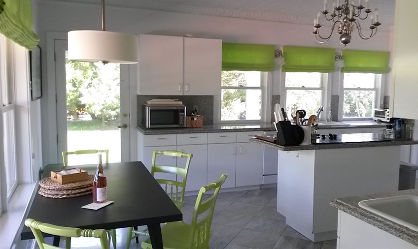 Kitchen with green highlights