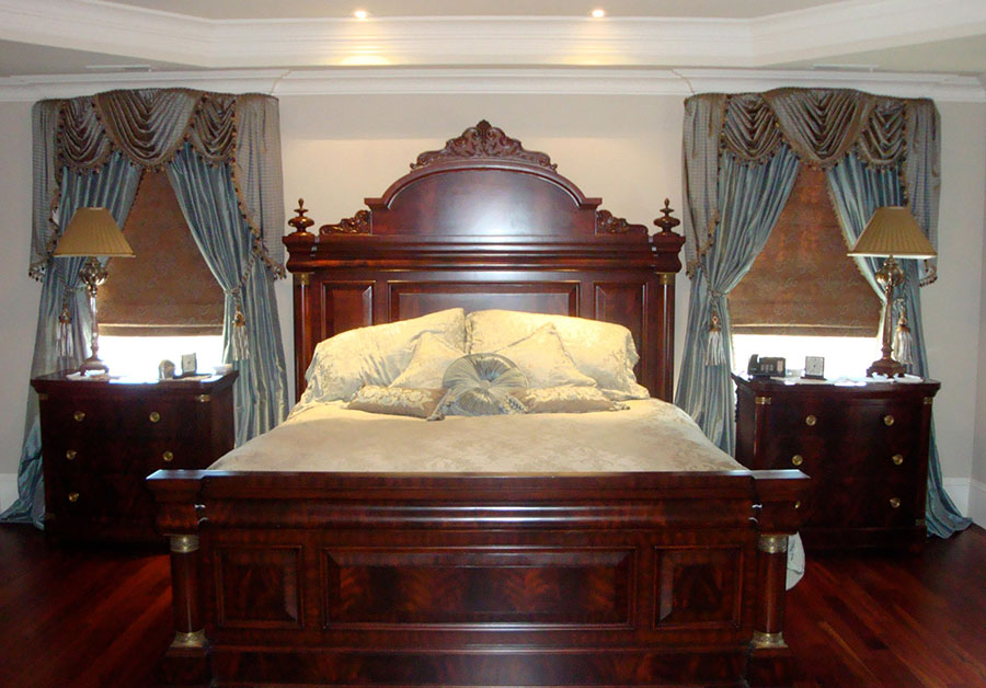 Master bedroom windows and bedding