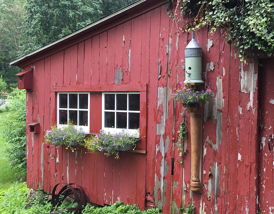 Red barn with flower boxes
