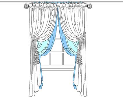 Design drawing for custom sewing of drapes