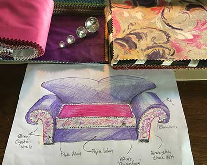 design drawing for custom sewing and upholstery of sofa