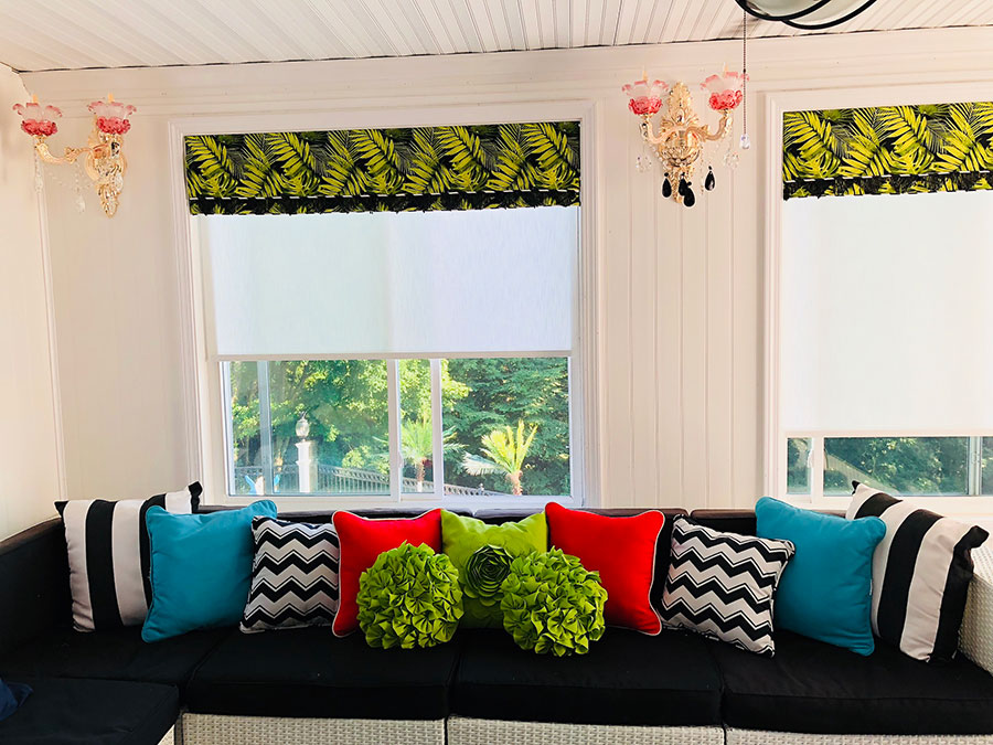 Sun room with light filtering shades